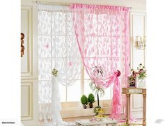 1*2M Butterfly Pattern Tassel String Curtain-White 3610521