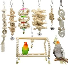 7pcs Wooden Bird Toy Parrot Cage Hammock Chewing Swing Toys I0609LC0