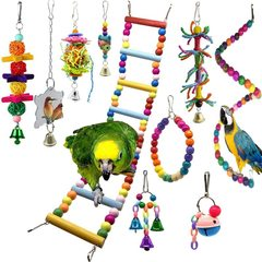 10pcs Wooden Bird Toy Parrot Cage Mirror Ladder Chewing Swing Toys I0612MZ0