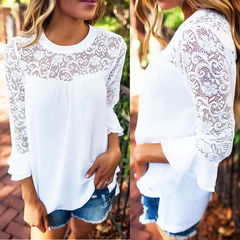 Romantic White Lace Insert Ruffle Sleeves Casual Blouse Top Sz12-14 4785424