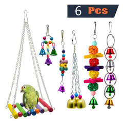 6pcs Wooden Bird Toy Parrot Cage Hammock Chewing Swing Toys I0607MZ0