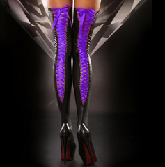 Sexy Purple Lace Up Vinyl Stockings 2271370