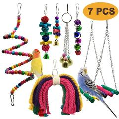 7pcs Wooden Bird Toy Parrot Cage Bells Swing Chewing Swing Toys I0610MZ0
