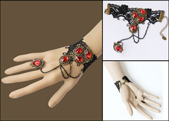 Vintage Black Gothic Steampunk Red Ruby Gemstone Lace Crochet Bracelet 1614060