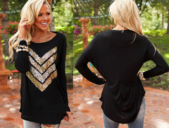 Black Casual Long Sleeve Jersey Blouse Top w Gold Sequin Arrow Sz12-14 4706214