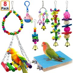8pcs Wooden Bird Toy Parrot Cage Hammock Chewing Swing Toys I0611MZ0