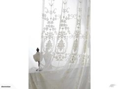 A PAIR 1.8M*1.8M Romantic Victoria White Curtain 3610504