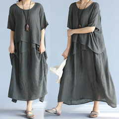 Fashion Grey Oversized Linen Layered Tunic Long Dress 4009350